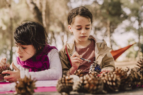 Cute girls decorating pine cones with watercolor painting at table in park - ERRF04602