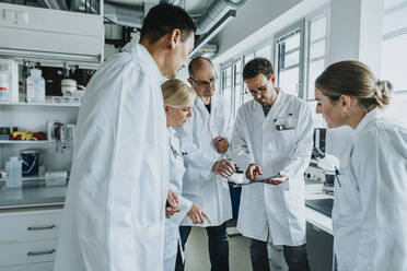 Scientist working with digital tablet while standing at laboratory - MFF06544