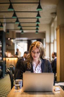 Businesswoman using phone in restaurant - MASF20061