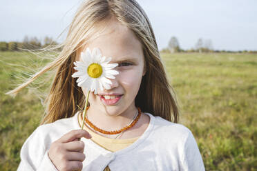 Cute girl covering eye with chamomile flower at field - EYAF01389