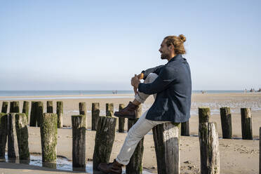 Young man looking at view while sitting on wooden post at beach against clear sky - UUF22000