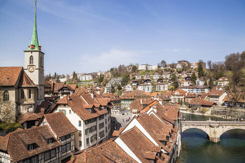 High angle view of rooftop by aare river in Switzerland - FLMF00338