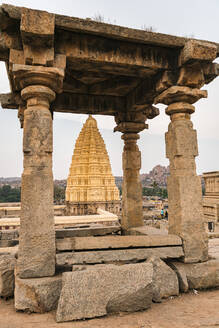 India, Karnataka, Hampi, Architecture of ancient Virupaksha Temple - JMPF00629