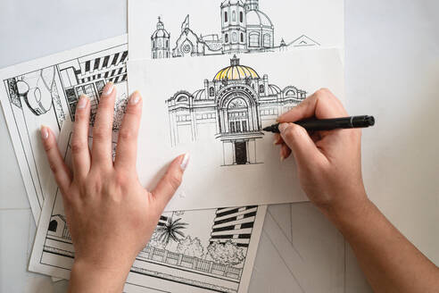 Hands drawing architecture and design - CAVF91041