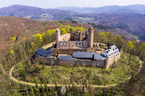 Germany, Hesse, Bensheim, Helicopter view of Auerbach Castle in spring - AMF08803