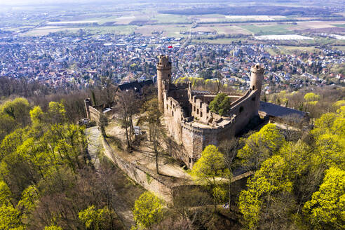 Germany, Hesse, Bensheim, Helicopter view of Auerbach Castle in spring with town in background - AMF08806