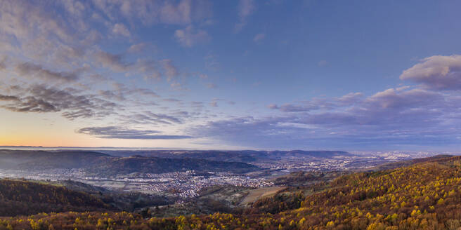 Germany, Baden-Wurttemberg, Drone view of Remstal valley at autumn dawn - STSF02712