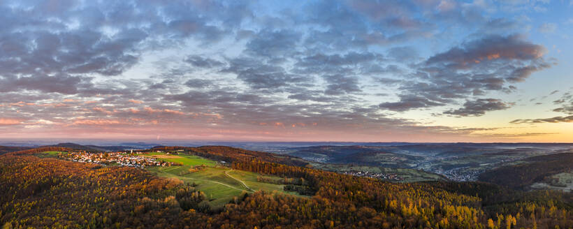 Germany, Baden-Wurttemberg, Drone view of Remstal valley at autumn dawn - STSF02718