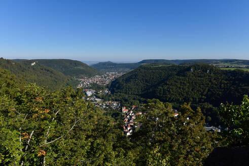 Landscape against blue sky seen from Castle Lichtenstein, Swabian Alb, Germany - FDF00299