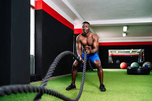 Back view of ethnic sportsman with strong torso exercising with battle ropes during functional training in gym - ADSF19259