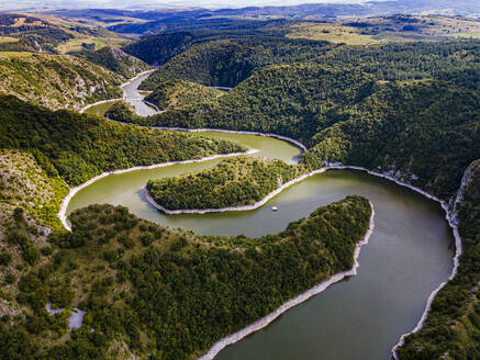 Uvac River meandering through the mountains, Uvac Special Nature Reserve, Serbia, Europe - RHPLF19002