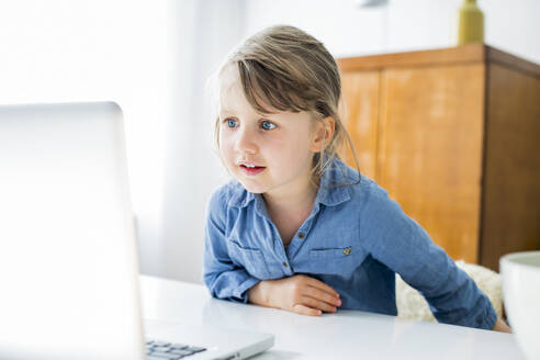 Girl looking at laptop while sitting at home - KVF00142