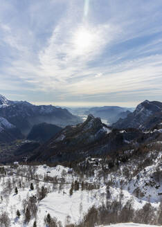 Scenic view of snow covered mountains against sky, Orobic alps, Lecco, Italy - MCVF00704