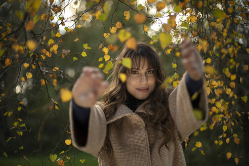 Smiling woman holding branch while standing in park during autumn - AXHF00039