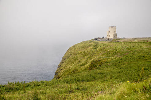 cloudy, tourists, cliffs of moher, clare, ireland - BIGF00074