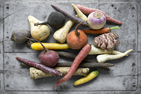 Raw vegetables lying on gray wooden surface - ASF06721