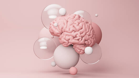 Three dimensional render of human brain floating amid various bubbles - JPSF00036