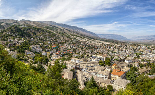 Town against cloudy sky at Gjirokaster, Albania - MAMF01629