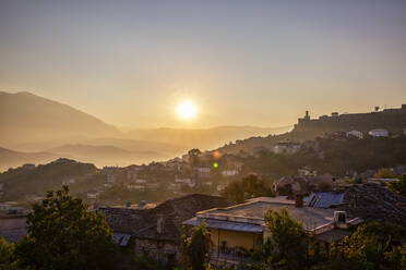 Town during sunrise in Gjirokaster, Albania - MAMF01632