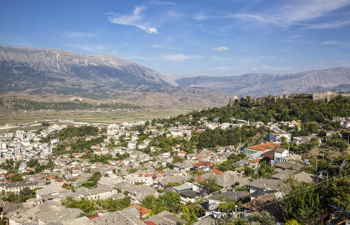 View of town against blue sky at Mali I Gjere, Gjirokaster, Albania - MAMF01650
