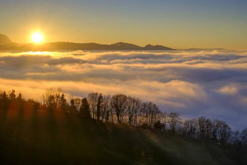 Austria, Vorarlberg, Pfaender mountain at sunset - LBF03384