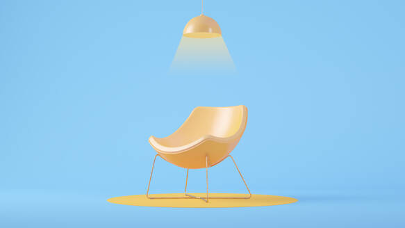 Yellow chair with blue wall - JPSF00055