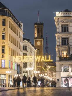 Germany, Hamburg, City center in Christmas decorations - KEBF01787