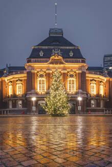 Germany, Hamburg, Laeiszhalle concert hall with Christmas tree illuminated at night - KEBF01802