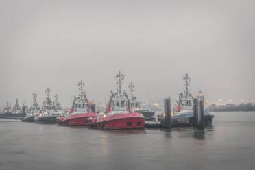 Deutschland, Hamburg, Altona, Schlepperbrücke Neumühlen im Nebel - KEBF01808