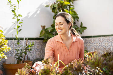 Smiling woman touching plants at home garden - AFVF08260