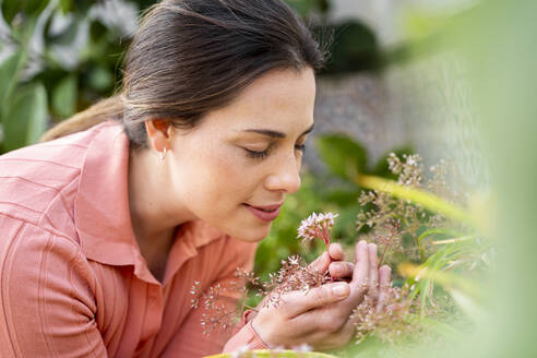 Young woman smelling fresh flowers in garden - AFVF08266