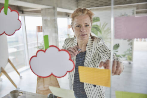 Businesswoman sticking adhesive notes on glass wall at home office - FMKF07017