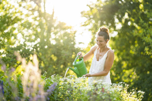 Deutschland, Hessen, Wiesbaden, Frau gießt Blumen im eigenen Garten, Natur, Nachhaltigkeit, Gießkanne, Pflanzen, Draußen im Grünen - AKLF00107